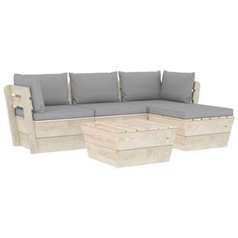 vidaXL 5-cz. zestaw wypoczynkowy z palet, z poduszkami, świerk