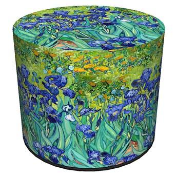 Zielono-niebieska tapicerowana pufa z motywem roślinnym - Matilda