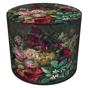 Zielono-czerwona tapicerowana pufa z motywem florystycznym - Matilda