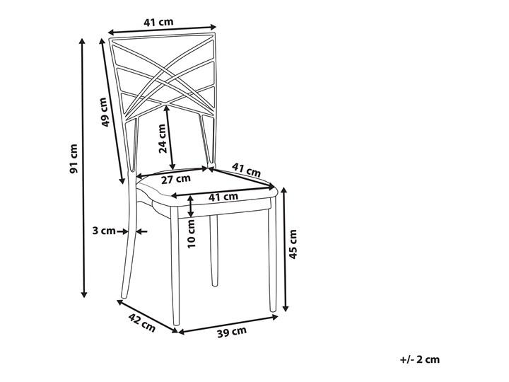 Zestaw 2 krzeseł złotych metalowych z białymi poduszkami na siedzisko z ekoskóry styl glamour Krzesło inspirowane Szerokość 41 cm Skóra ekologiczna Wysokość 91 cm Tworzywo sztuczne Głębokość 42 cm Tapicerowane Skóra Z podłokietnikiem Tkanina Pomieszczenie Salon