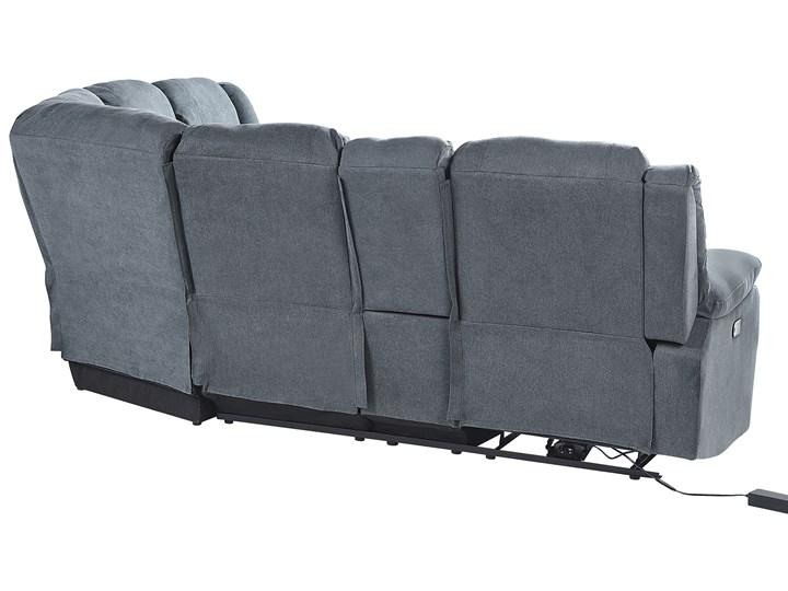 Narożnik rozkładany elektryczny szary tapicerowany z funkcją relaksu sofa 5-osobowa port USB uchwyt na napoje Modułowe Styl Klasyczny