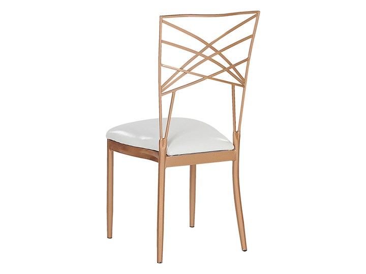 Zestaw 2 krzeseł złotych metalowych z białymi poduszkami na siedzisko z ekoskóry styl glamour Tkanina Pomieszczenie Salon Szerokość 41 cm Głębokość 42 cm Tapicerowane Krzesło inspirowane Skóra ekologiczna Wysokość 91 cm Skóra Z podłokietnikiem Tworzywo sztuczne Pomieszczenie Jadalnia