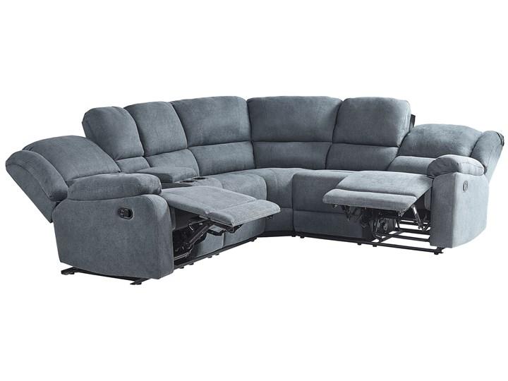 Narożnik rozkładany manualnie szary tapicerowany z funkcją relaksu sofa 5-osobowa uchwyt na napoje schowek Modułowe Rozkładanie