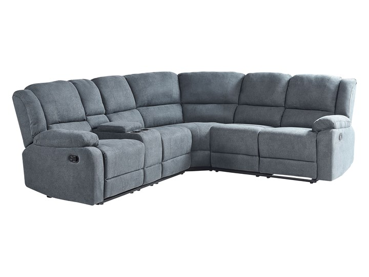 Narożnik rozkładany manualnie szary tapicerowany z funkcją relaksu sofa 5-osobowa uchwyt na napoje schowek