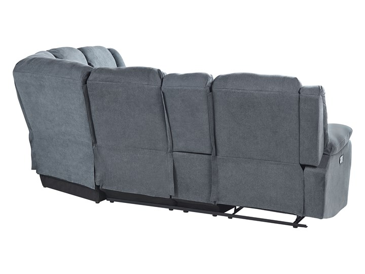 Narożnik rozkładany manualnie szary tapicerowany z funkcją relaksu sofa 5-osobowa uchwyt na napoje schowek Styl Klasyczny Modułowe Wykonanie siedziska Sprężyny
