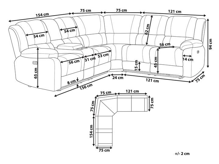Narożnik rozkładany elektryczny szary tapicerowany z funkcją relaksu sofa 5-osobowa port USB uchwyt na napoje Modułowe Kategoria Narożniki Rozkładanie