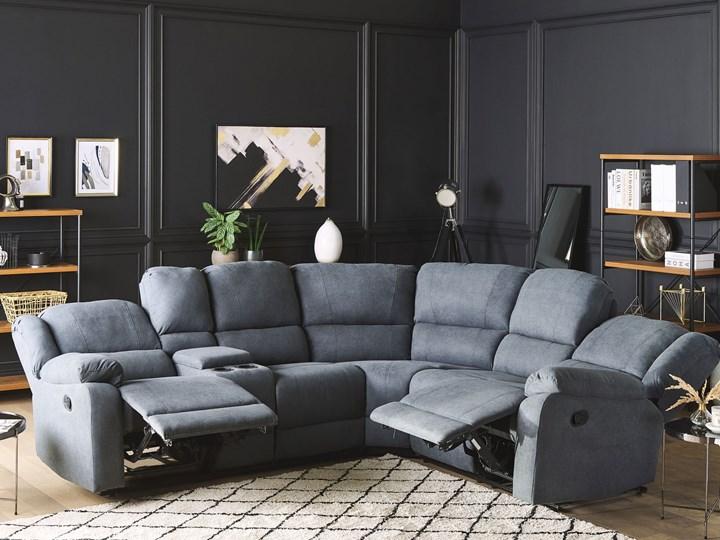 Narożnik rozkładany manualnie szary tapicerowany z funkcją relaksu sofa 5-osobowa uchwyt na napoje schowek Modułowe Styl Nowoczesny