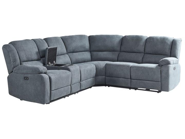 Narożnik rozkładany elektryczny szary tapicerowany z funkcją relaksu sofa 5-osobowa port USB uchwyt na napoje Modułowe Styl Nowoczesny
