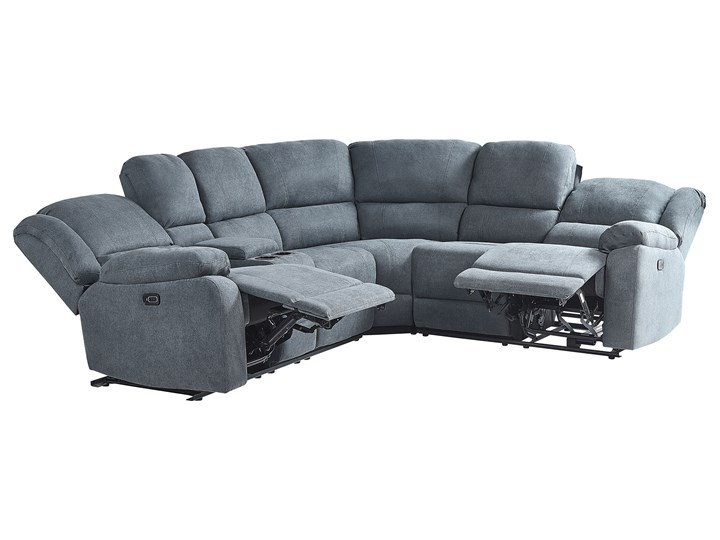 Narożnik rozkładany elektryczny szary tapicerowany z funkcją relaksu sofa 5-osobowa port USB uchwyt na napoje Modułowe Nóżki Bez nóżek