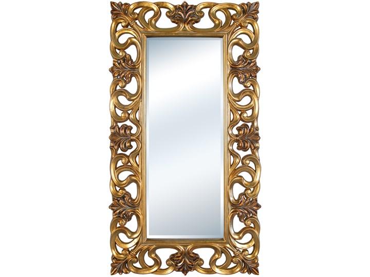 LUSTRO Designerskie APOLLO w złotej ramie w stylu Glamour prostokąt 92X167 kolor: złoty, Materiał: poliuretan, rozmiar ramy: 92/167/6,5, rozmiar lustra: 50/125, EAN: 5903949790849 Lustro z ramą Prostokątne Ścienne Kolor Srebrny
