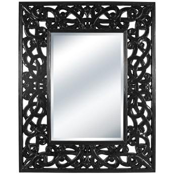 LUSTRO CESARE czarna błyszcząca rama prostokąt 114X144 kolor: Czarny, Materiał: poliuretan, rozmiar ramy: 114/144/3,5, rozmiar lustra: 60/90
