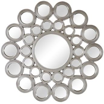 LUSTRO Charlotte w srebrnej okrągłej ramie FI 118  kolor: srebrny, Materiał: poliuretan, rozmiar ramy: FI 118, rozmiar lustra: FI 39, EAN: 5903949790566