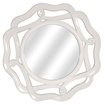 LUSTRO IRIS w błyszcząco białej ramie okrągłe FI 90 kolor: biały lśniący, Materiał: poliuretan, rozmiar ramy: 90/90/4, rozmiar lustra: 51/51, EAN: 5903949790399