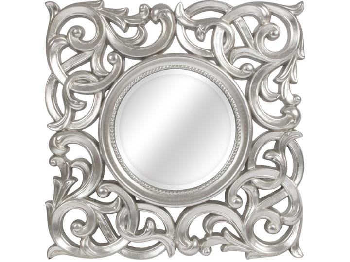 LUSTRO MEDALION srebrnej w błyszczącej ramie kwadrat 71X71 kolor: srebrny, Materiał: poliuretan, rozmiar ramy: 71/71, rozmiar lustra: 36/36, EAN: 5903949790511 Lustro z ramą Styl Glamour