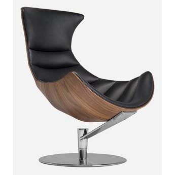Stylowy fotel z podnóżkiem Sindi Czarna skóra