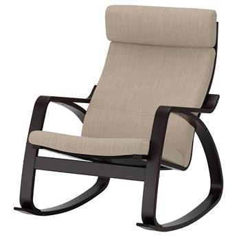 IKEA POÄNG Krzesło bujane, czarnybrąz/Hillared beżowy, Szerokość: 68 cm