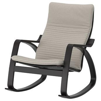 IKEA POÄNG Krzesło bujane, czarnybrąz/Knisa jasnobeżowy, Szerokość: 68 cm