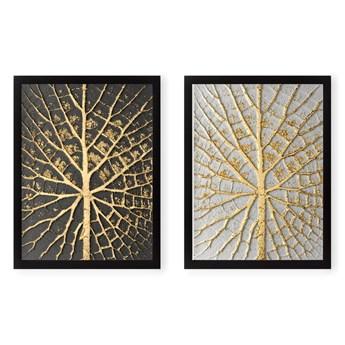 Zestaw 2 obrazów Tablo Center Tree Golden