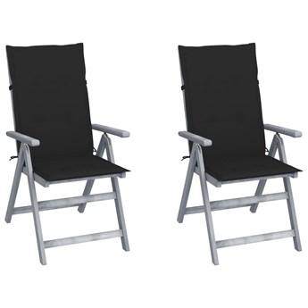vidaXL Rozkładane krzesła ogrodowe z poduszkami, 2 szt., lita akacja