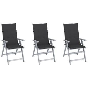vidaXL Rozkładane krzesła ogrodowe z poduszkami, 3 szt., lita akacja