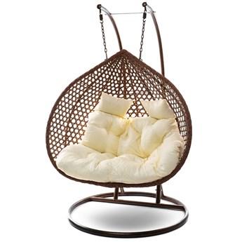 Fotel wiszący dwuosobowy - kokon ogrodowy brązowy