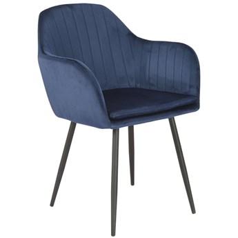 Krzesło tapicerowane 8174 / Welur granatowy, nogi czarne