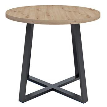 Loftowy stół okrągłym z blatem Dąb artisan - Jens