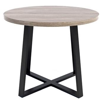 Nowoczesny stół okrągłym z blatem Dąb brunico - Jens