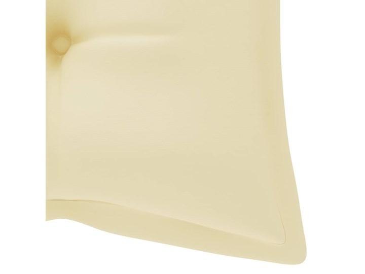 vidaXL Huśtawka ogrodowa z kremową poduszką, 120 cm, drewno tekowe Kolor Beżowy