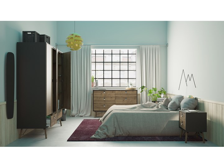Nowoczesna szafa ubraniowa w kolorze czarnym Ryan 3D Wysokość 200 cm Kategoria Szafy do garderoby Szerokość 150 cm Styl Nowoczesny