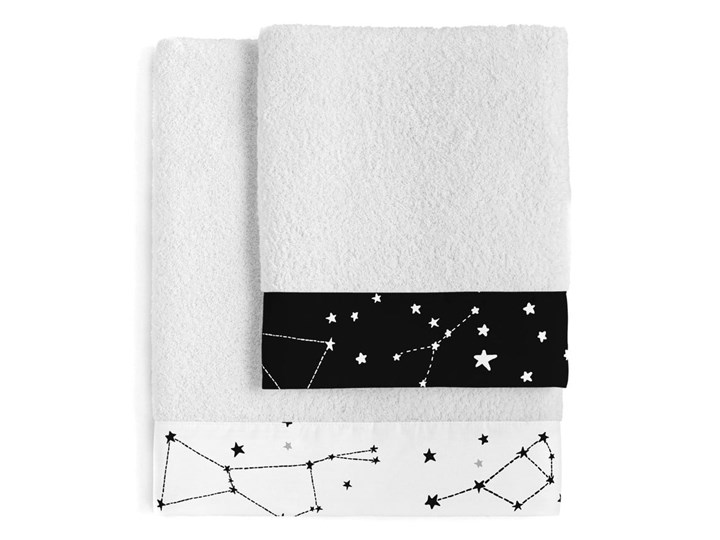 Zestaw 2 bawełnianych ręczników Blanc Constellation 70x140 cm Ręcznik kąpielowy Bawełna Komplet ręczników 50x100 cm Kolor Biały
