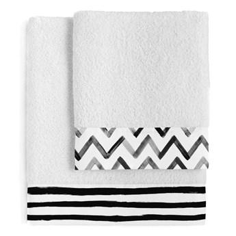 Zestaw 2 bawełnianych ręczników Blanc Stripes