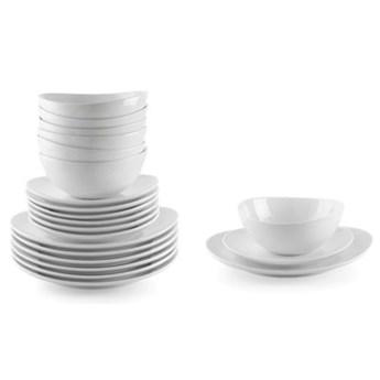Zestaw obiadowy DUKA TIME 18 elementów biały porcelana