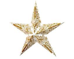 Lampion gwiazda, 5 ramion, biało-złoty - Darmowa dostawa do ponad 190 salonów empik!