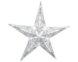 Lampion gwiazda, 5 ramion, srebrno-biały - Darmowa dostawa do ponad 190 salonów empik!