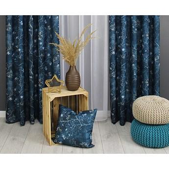 Zasłona gotowa 150x250 niebieska gałązki kwiaty