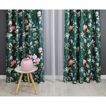 Zasłona gotowa 140x250 zielona kwiaty magnolia