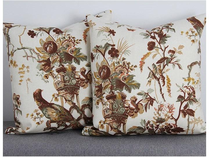 Poszewka ozdobna natura brązowa ptak kwiaty Poszewka dekoracyjna Bawełna 45x45 cm 43x43 cm Kwadratowe Wzór Roślinny