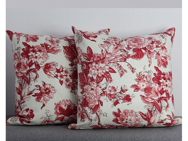 Poszewka ozdobna natura kwiaty czerwone Kwadratowe 43x43 cm Poszewka dekoracyjna 45x45 cm Bawełna Kolor Czerwony