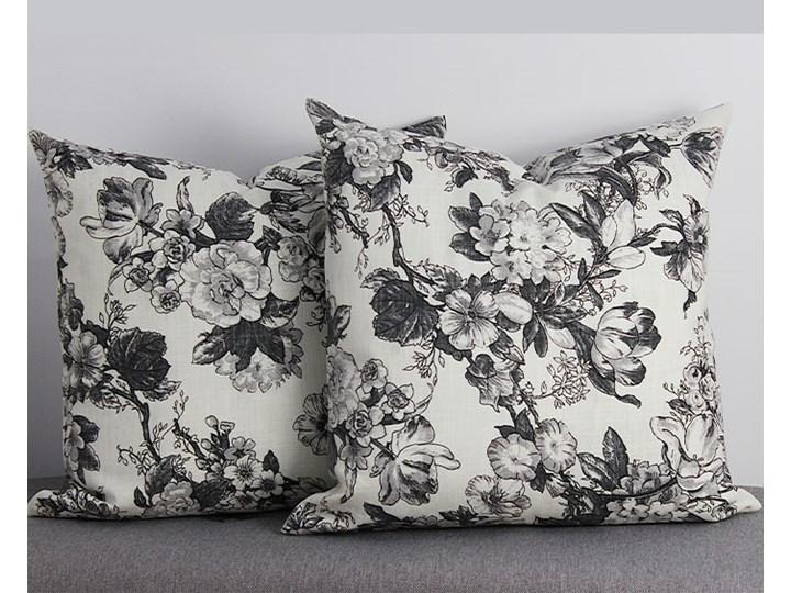 Poszewka ozdobna natura kwiaty szare Kolor Biały 45x45 cm Poszewka dekoracyjna Bawełna 43x43 cm Kwadratowe Wzór Roślinny