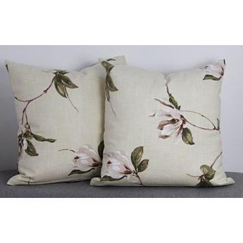Poszewka ozdobna natura magnolia beż