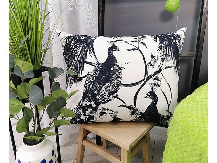 Poszewka dekoracyjna pawie E208 Bawełna Prostokątne Kategoria Poduszki i poszewki dekoracyjne 50x60 cm Poliester Kolor Biały