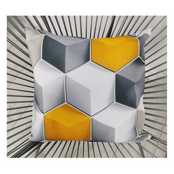 Poszewka dekoracyjna 3D  CUBE szaro-żółta F-FE51001
