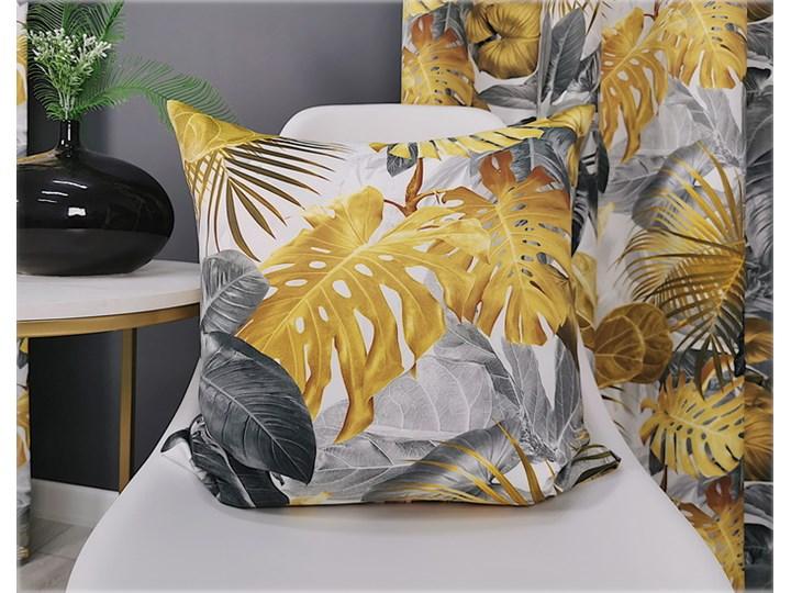 Poszewka dekoracyjna liście 3d szaro złote 45x45 F-FE51001 Kwadratowe 45x45 cm Poliester Kolor Szary Wzór Z nadrukiem