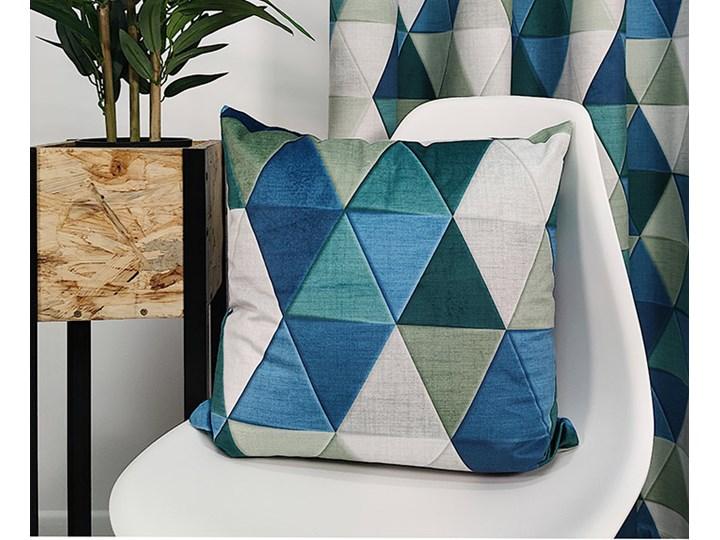 Poszewka aksamitna trójkąty 3D morskie Kwadratowe 45x45 cm Wzór Z nadrukiem Poszewka dekoracyjna Poliester Kategoria Poduszki i poszewki dekoracyjne