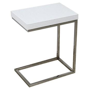 Stolik pomocnik z białego szkła 47 x 31 x 57 cm LW706 outlet