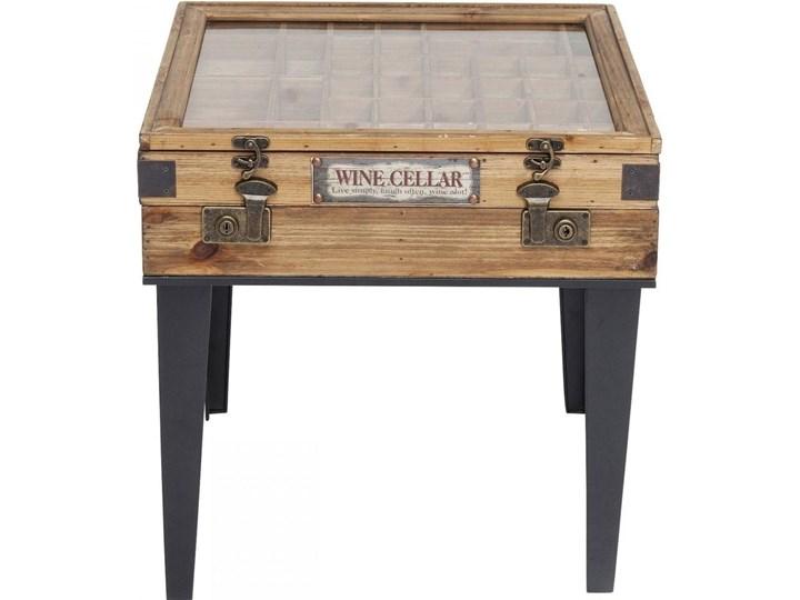 Stolik kawowy Collector 55x55 cm drewniany Szkło Płyta meblowa Drewno Stal Styl Industrialny
