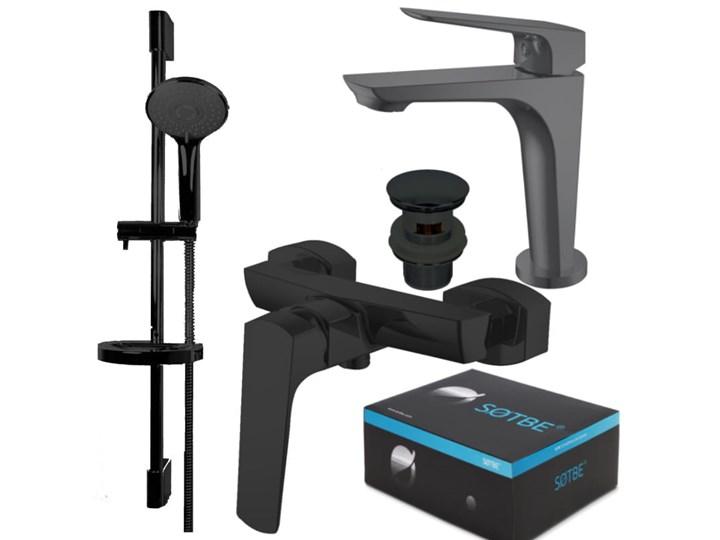 SOTBE TOGA BLACK Zestaw bateria prysznicowa + bateria umywalkowa stojąca + drążek prysznicowy