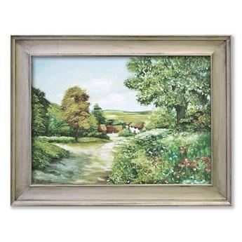 DROGA NA WSI obraz ręcznie malowany w ramie dekoracyjnej, 85x65 cm