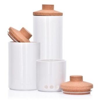 Zestaw 3 pojemników kuchennych DUKA VIT biały porcelana